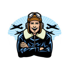 world war pilot smiling vector image