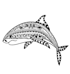 Zentangle Shark totem for adult anti stress vector image