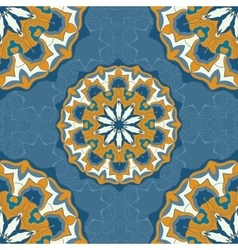 Blue and brown color mandala ornament seamless vector image vector image