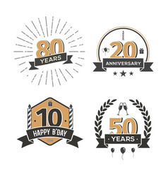 collection of retro anniversary logo isolated vector image