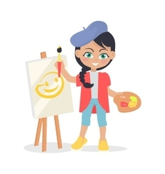 Girl Draws on Easel Isolated in Flat Style Design vector image vector image