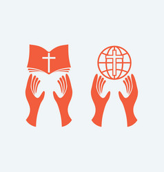 Hands with the bible and the globe vector