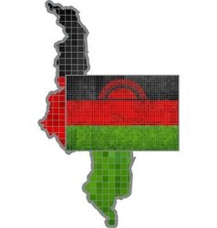 Malawi map with flag inside vector
