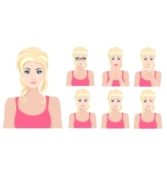 Beautiful blond model girl with different facial vector image vector image