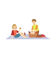 Couple Eating Burgers On Picnic vector image vector image