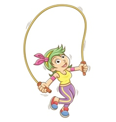 girl playing with a skipping rope vector image
