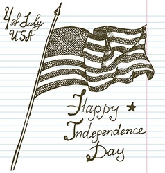 Hand drawn sketch American flag USA Independence vector image vector image