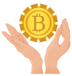 hands holding bitcoin isolated vector image