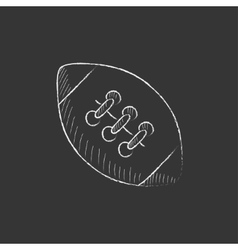 Rugby football ball Drawn in chalk icon vector image