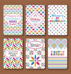 Set of bright happy birthday invitation cards vector image vector image