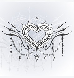 Sketch of tattoo henna hearts vector