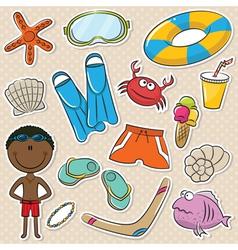 Summer Beach Rest African-American Boy vector image vector image