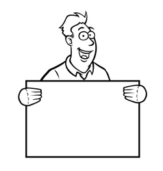 Black and white man holding a sign vector image vector image
