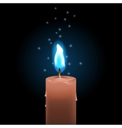 blue fire candle vector image