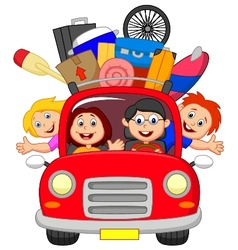 Cartoon family traveling with car vector