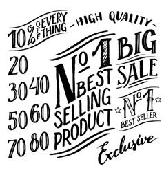 Hand lettered sale labels and design elements set vector image vector image