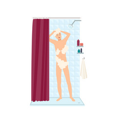 Smiling man standing taking shower and lathering vector