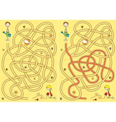 beach maze for kids vector image vector image