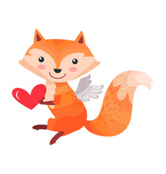 fox with angel wings holds heart in paws isolated vector image