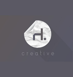 h letter logo with crumpled and torn wrapping vector image vector image