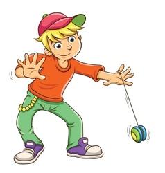 Little boy playing yo yo vector image