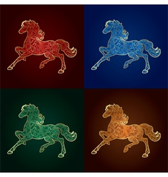 Set of vintage horse silhouette on colored backgro vector image