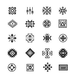 traditional tribal mexican symbols navajo ethnic vector image