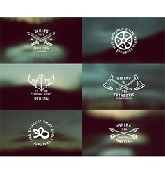 Viking emblems and blurred background vector image