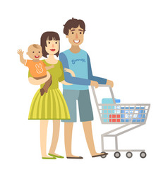 young parents with baby son shopping in vector image vector image