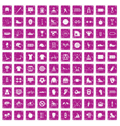 100 sport team icons set grunge pink vector