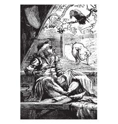 A carrion crow sat on an oak vintage vector