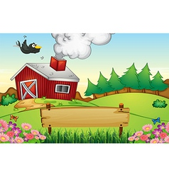 A farm with an empty signboard vector image