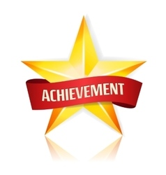 Achievement Star With Red Ribbon Yellow vector image
