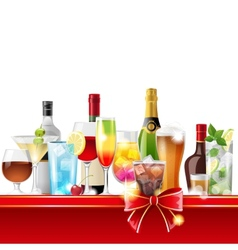 Alcohol cocktails and bottles vector image