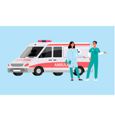 Ambulance car with doctor and paramedic staff vector