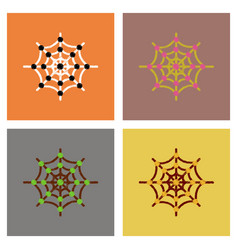 Assembly flat shading style icons spider web vector