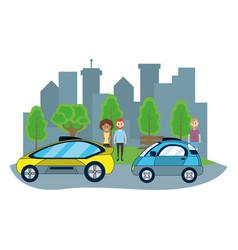 Autonomous cars technology vector