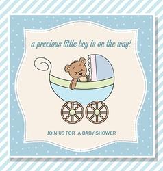 Baby boy shower card with stroller and teddy bear vector