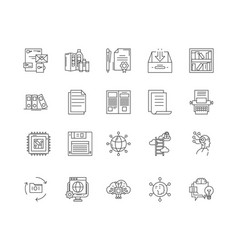 Backup line icons signs set outline vector