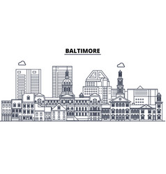 baltimore united states outline travel skyline vector image