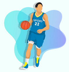 basketball player with blue jersey vector image