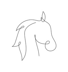 Beautiful continuous line horse art design vector