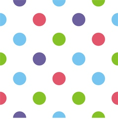 Big colorful polka dots white background pattern vector image