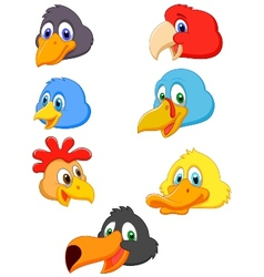 Bird head cartoon collection vector image