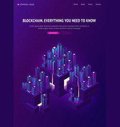 blockchain technology smartcity isometric banner vector image