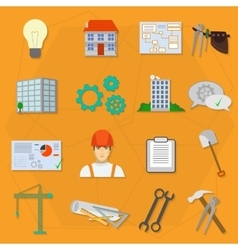 Builder worker construction flat icons vector