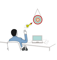 businessman aiming target and throwing dart vector image