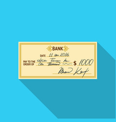cheque icon in flat style isolated on white vector image