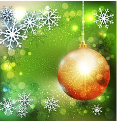 Christmas green background with golden ball vector