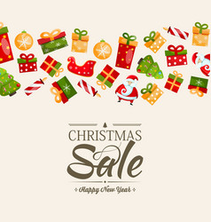 christmas sale and happy new year poster vector image